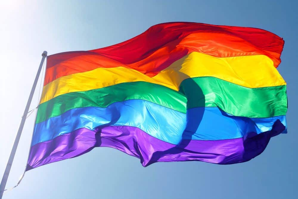 Big rainbow flag is waving in the wind with sun shining throughMore of my flag images: