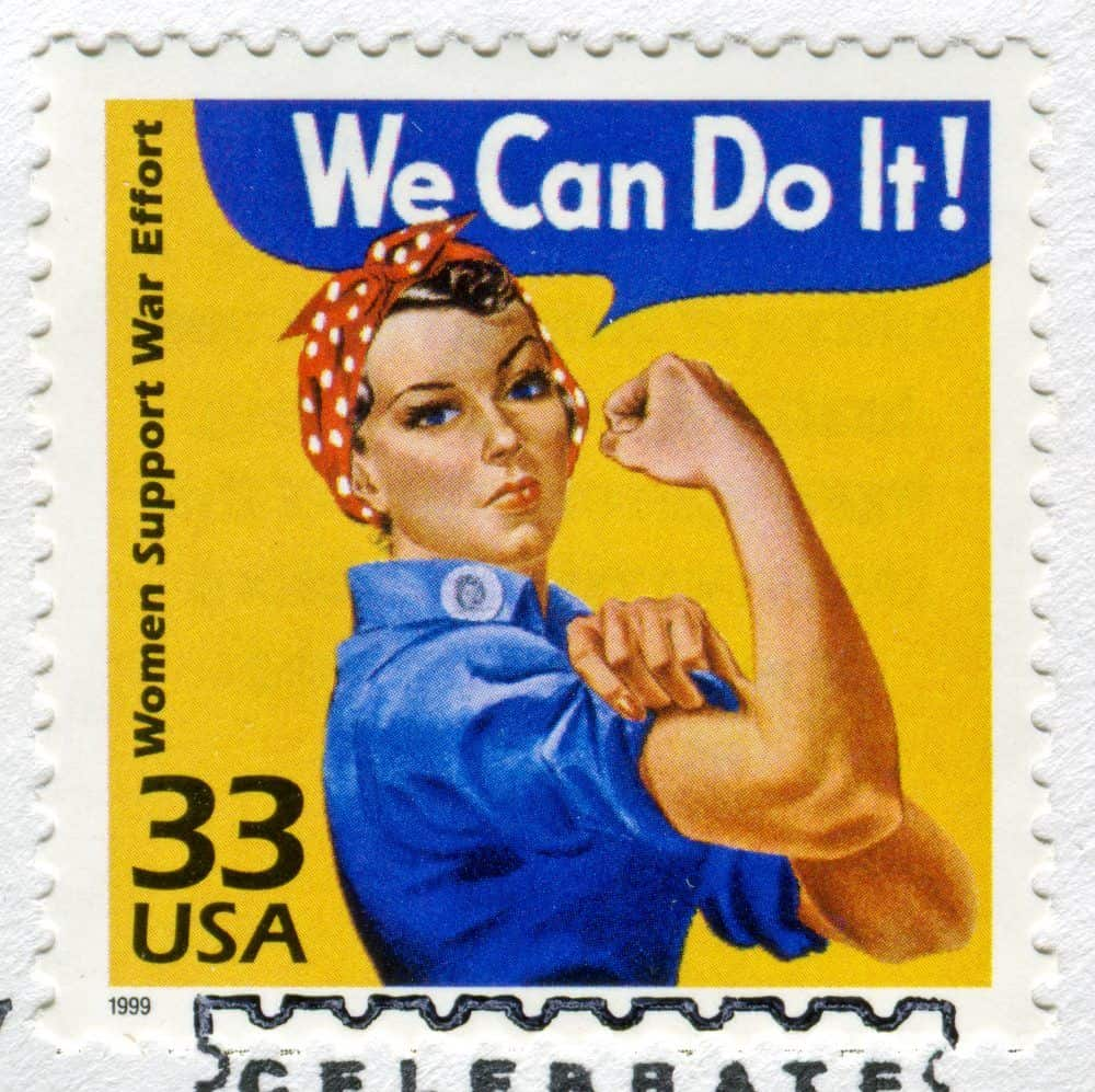 """Richmond, Virginia, USA - November 2nd, 2011: Cancelled Stamp From The United States Featuring Rosie The Riveter Saying """"We Can Do It!"""". On The Side Of The Stamp It Reads """"Woman Support War Effort""""."""